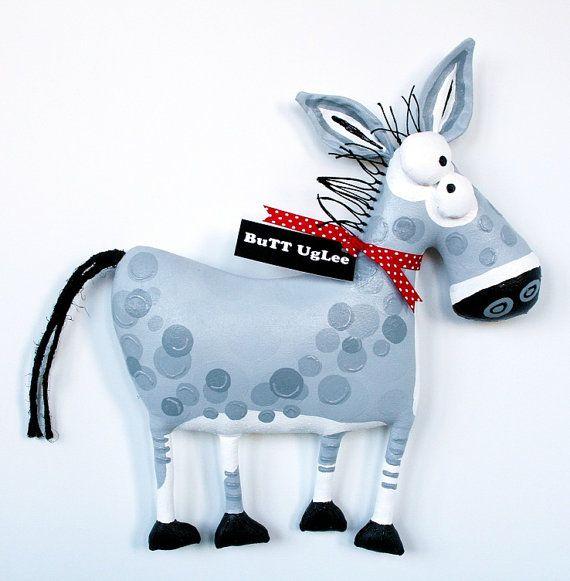 DonKeY named Sampson ... WhiMsicaL WaLL ArT ... Grey polka