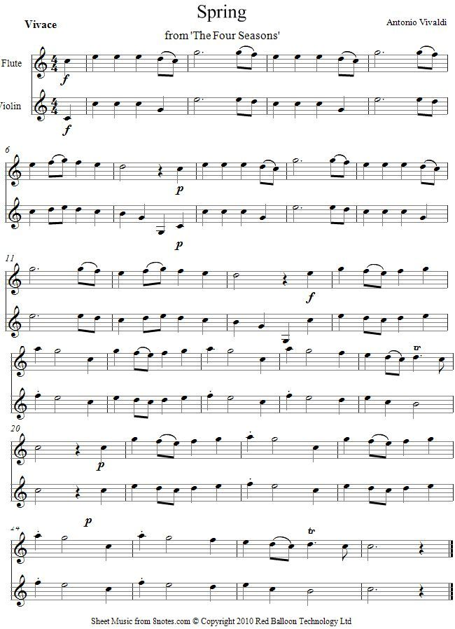 Vivaldi -  Spring from The Four Seasons sheet music for Violin-Flute Duet