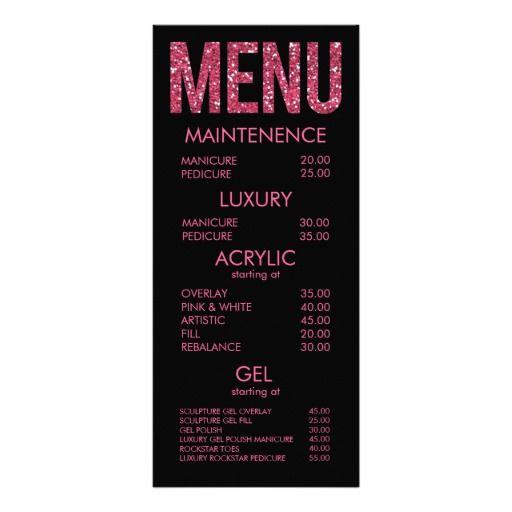 Black & Pink Glitter Typography Salon Menu Cards Rack Card