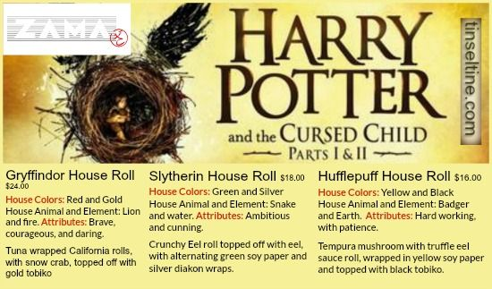 """#PhillyCalendar 7/29-7/31 Zama Restaurant celebrates 'Harry Potter and the Cursed Child release w/ Sushi    7/30 8pm head to Barnes & Noble (Rittenhouse Square) for a #CursedChild """"Countdown to Midnight Party"""""""