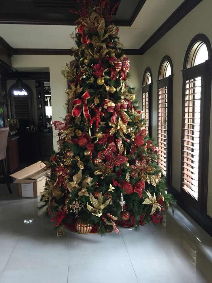 red and gold 9 foot christmas tree by jan marie franco - 9 Ft Christmas Tree