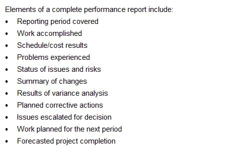 Elements of a complete performance report Project Management PMP - project completion report