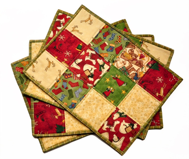 Christmas Placemat Quilted Holiday Cottage Teddy Bears Primitive  motif set of 4. $48.00, via Etsy.
