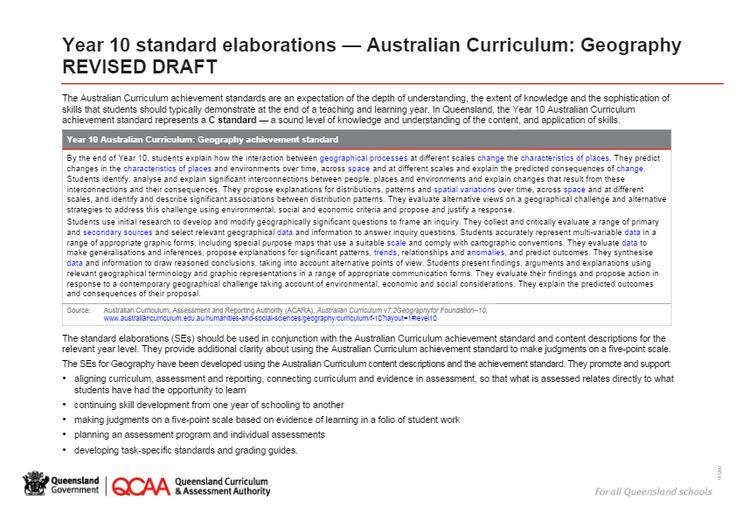 Year 10 Geography standard elaborations