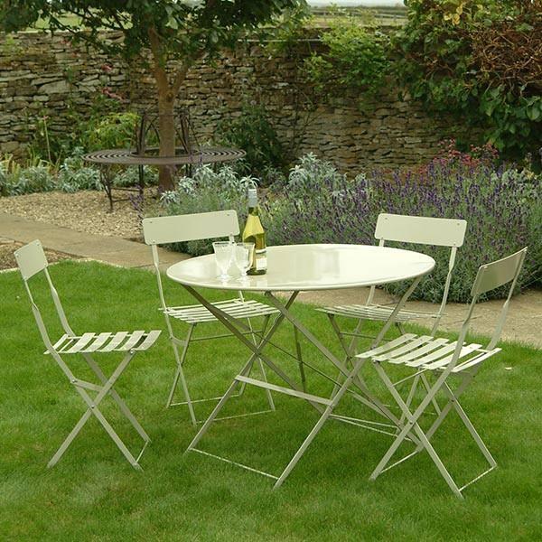 garden bistro set table 4 chairs in clay in the garden - Garden Furniture For Small Gardens