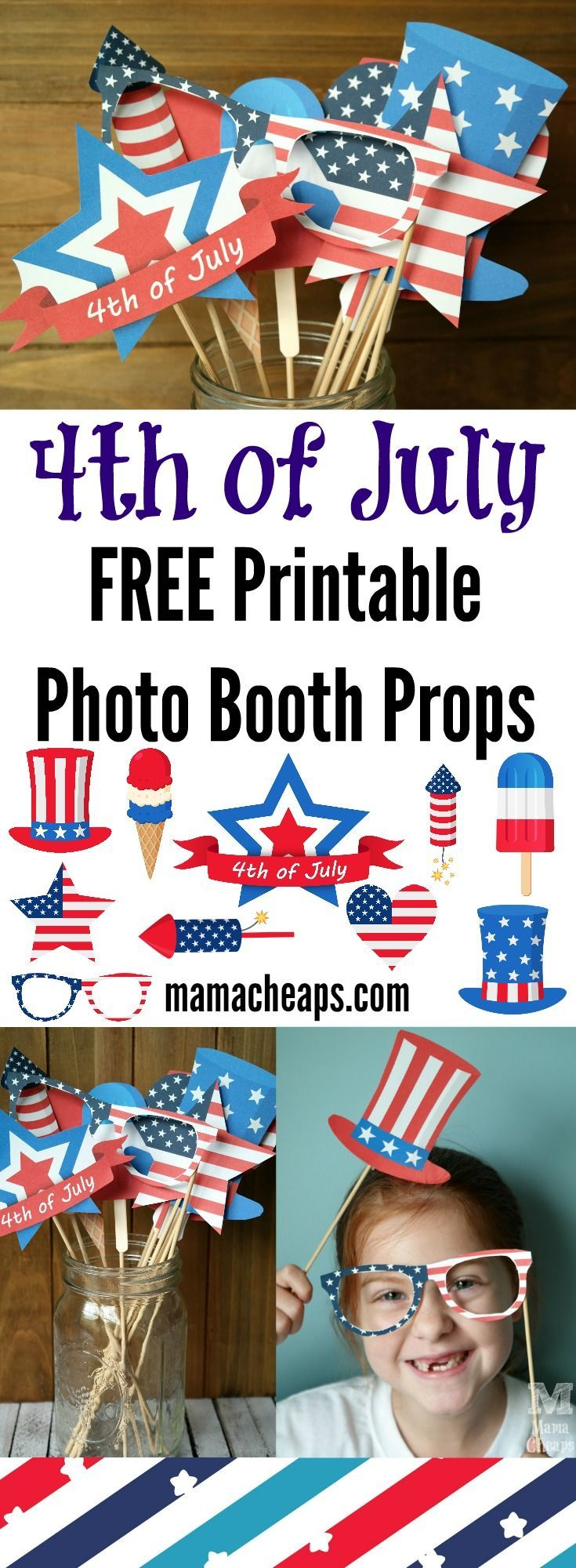 4th of July FREE Printable Photo Booth Props - print and cut these FREE patriotic photo booth props.  They'll be the hit of your holiday BBQ!  More free printables at MamaCheaps.com!