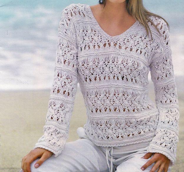 schemi gratis che trovate in questo articolo, ci permetterà di confezionare un pullover bianco a punto ajour come quello che vedete nella fotografia. Grazie alle istruzioni dettagliate passo a passo e al diagramma del punto ajour, sarà un gioco da ragazze, anche se la difficoltà del lavoro è già avanzata