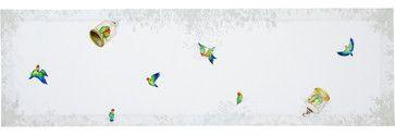 Lovebirds Linen Table Runner contemporary tablecloths