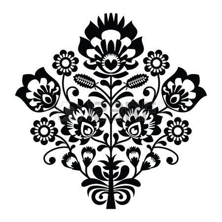 Motif folklorique polonaise traditionnelle en noir et blanc photo