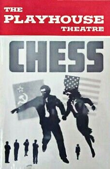 """Theatre Programme from the Premiere Delaware Production of the Tim Rice / Benny Anddersson / Björn Ulvaeus musical """"Chess,"""" which performed at the Playhouse Theatre from March 30 thru April 8, 1990 as one of the stops of the 1st National Tour of the musical -- with a revised libretto by Robert Coe and new set design by David Mitchell."""