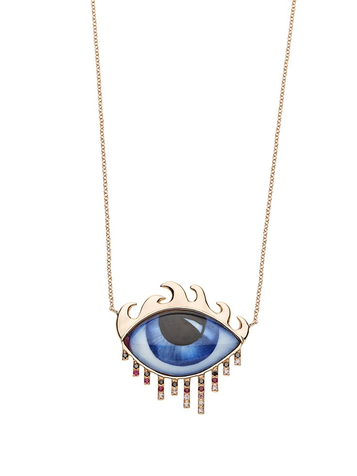 14K pink gold necklace with blue eye, grey, pink & brown Diamonds & Rubies