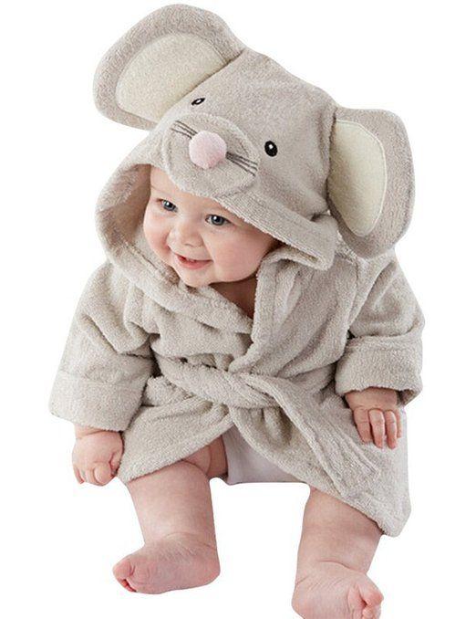 Mädchen Jungen Baby & Fleece Bademantel Robe Super weicher Fleece Bademantel (4-5 Jahre, Maus)
