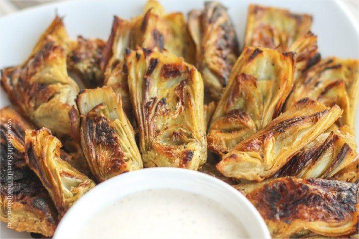 healthy recipe super bowl Crispy Artichoke Hearts with Horseradish Aioli