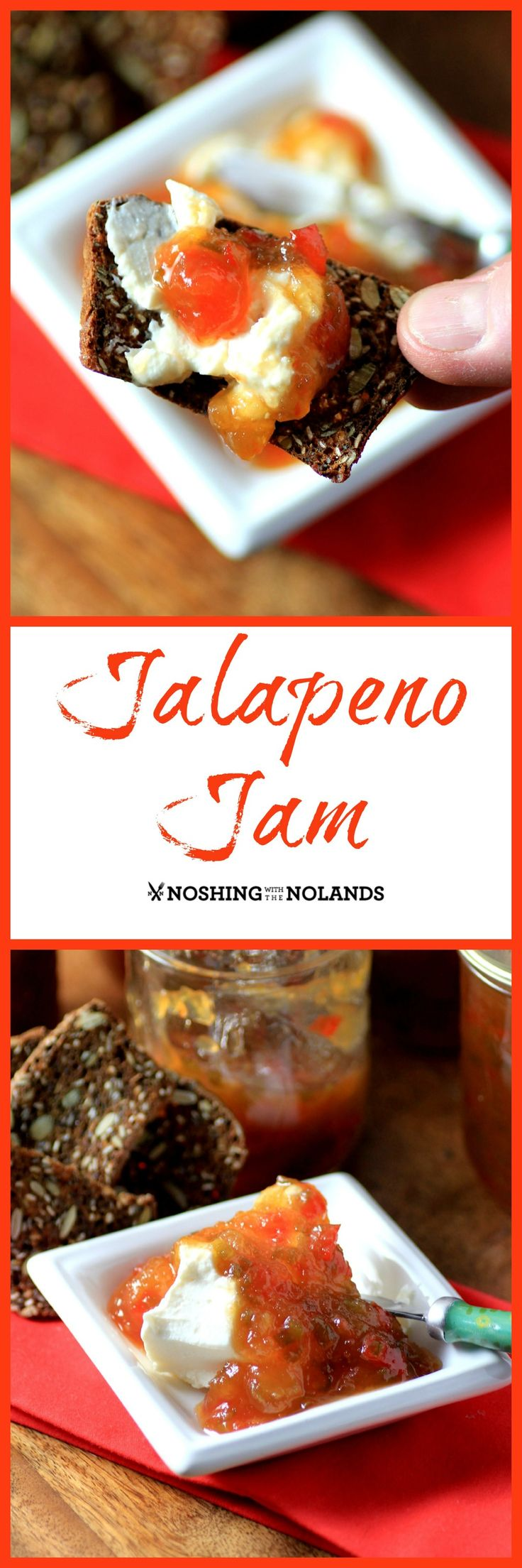 Jalapeno Jam by Noshing With The Nolands is perfect for the holidays with it's sweet Southern heat!  No pectin needed!