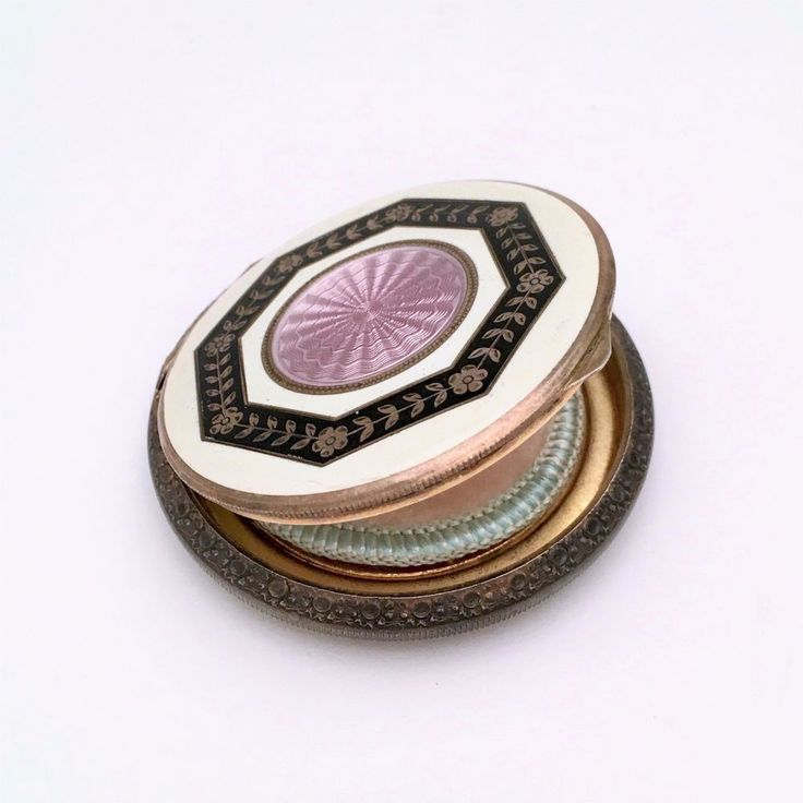 Art Deco Sterling Silver and Guilloche Enamel Compact with Puff, Made in Austria