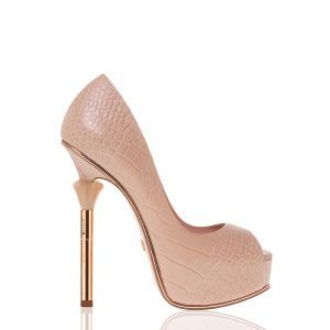 Blush Croco Pump Nude