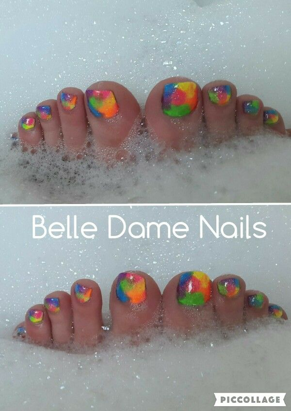 Funky neon pedicure  By Tan Adams at Belle Dame Nails
