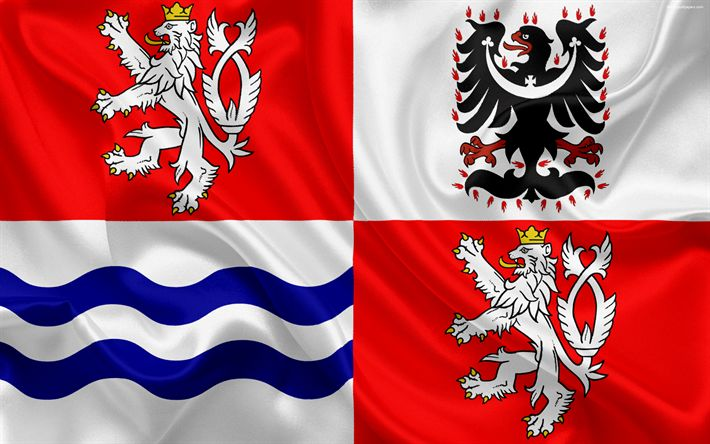 Download wallpapers Flag of the Central Bohemian Region, silk flag, 4k, official symbols, flags of administrative units, Czech Republic, Central Bohemian Region