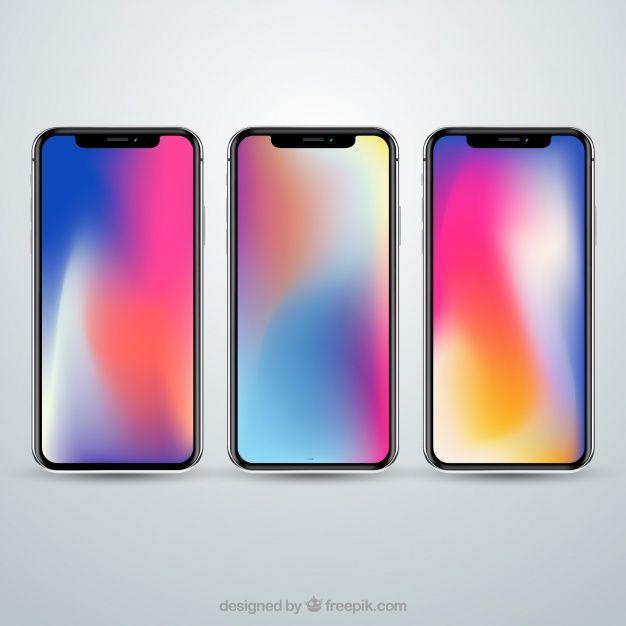 Set Of Iphone X With Gradient Wallpaper Free Vector Fond Ecran