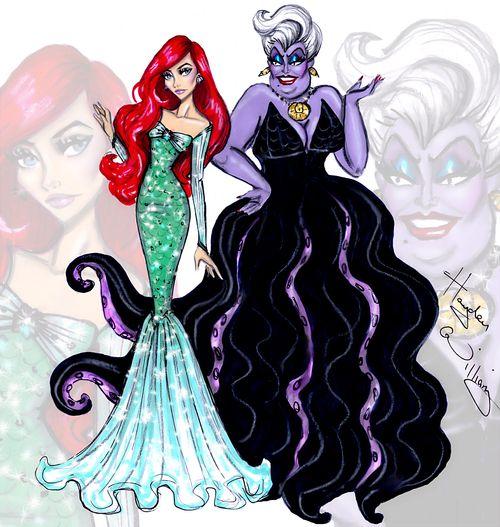 #Hayden Williams Fashion Illustrations #Disney Divas 'Princess vs Villainess' by Hayden Williams: Ariel & Ursula