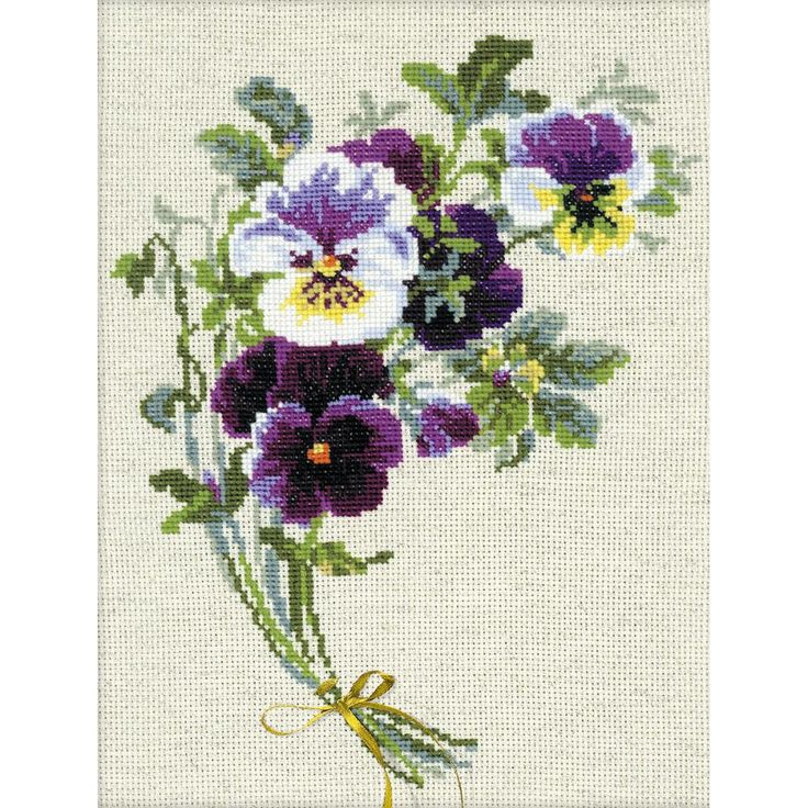 """Bunch Of Pansies Counted Cross Stitch Kit-9.5""""X11.75"""" 14 Count"""