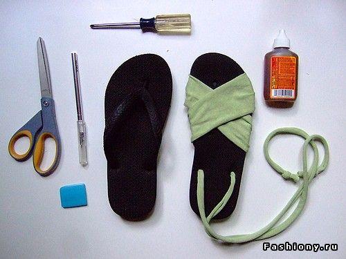Переделка обуви своими руками / чем украсить босоножки