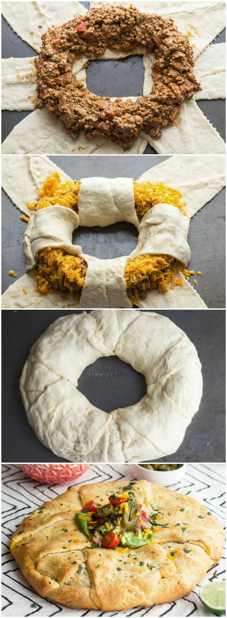 Chipotle Chicken Taco Ring Recipe ~ Chipotle chicken taco mixture is wrapped inside a golden baked crescent shell. http://www.tablespoon.com/recipes/chipotle-chicken-taco-ring/85bfdb11-b4ba-4c83-b4cd-6b3839b3de42