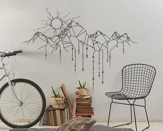 Geometric Mountain & Sun Wall Decal – Mountain Decal, Geometric Decal, Arrows Decal, Sun Decal, Mountains Nursery, Gift for Him, Man Gift