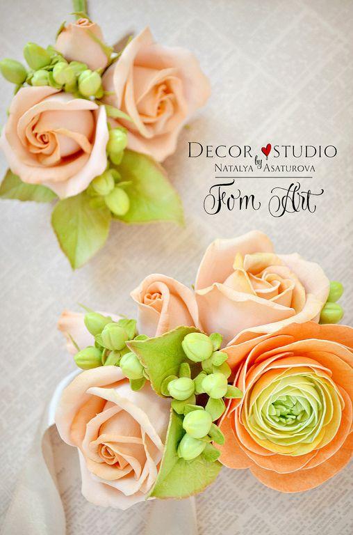 Купить Бутоньерка для жениха с цветами фоамирана - бутоньерка, бутоньерка для…