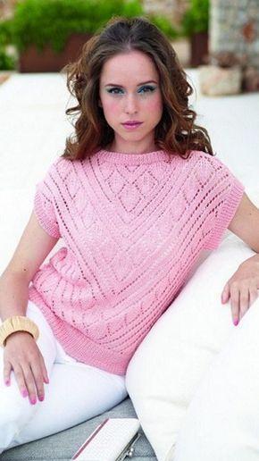 Розовая кофточка спицами