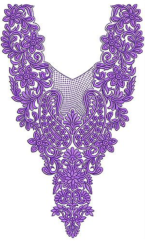 Cotton Fabric Neck Yoke Gala Embroidery Design