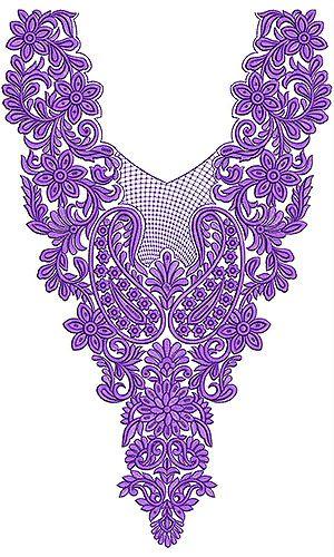 Cotton Fabric Neck Yoke Gala Embroidery Design