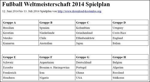WM Spielplan 2014 für die Fußball Weltmeisterschaft in Brasilien.