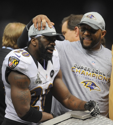 Ed Reed and Ray Lewis celebrate the Ravens' Super Bowl win.