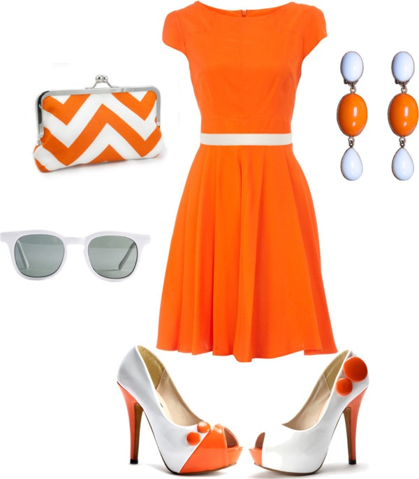 """UT game day fancy"" by jillybeanpuff on Polyvore.  I've become much more aware of my game day apparel since I now live outside of Big Orange country... Any of these orange elements would be amazing!"
