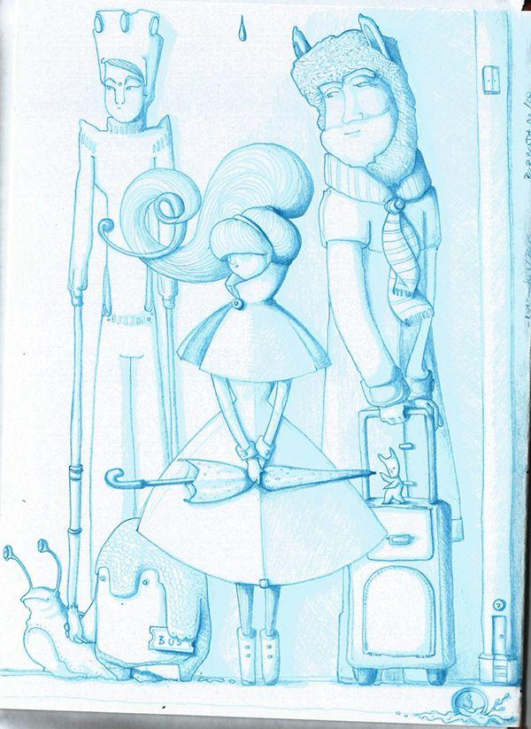 """Esperando el bus. Escuchando """"Aretha Franklin - Chain Of Fools"""", febrero 2015. Sketchbook+lápiz azul."""