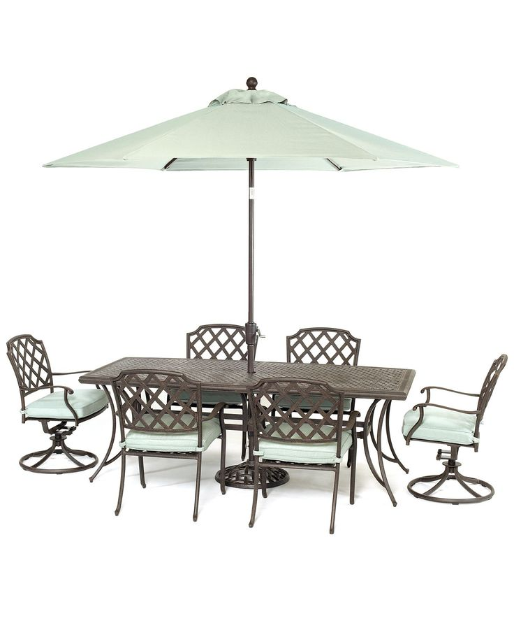 Nottingham Outdoor Cast Aluminum Dining Set X 38 Table 4 Chairs And 2 Swivel Rockers