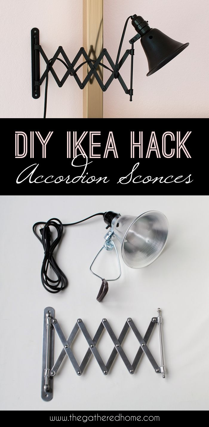 Ikea Faltspiegel und Klemmleuchte zu einer Scherenlampe im Vintage-Stil kombinieren. DIY Lampe, DIY lamp.
