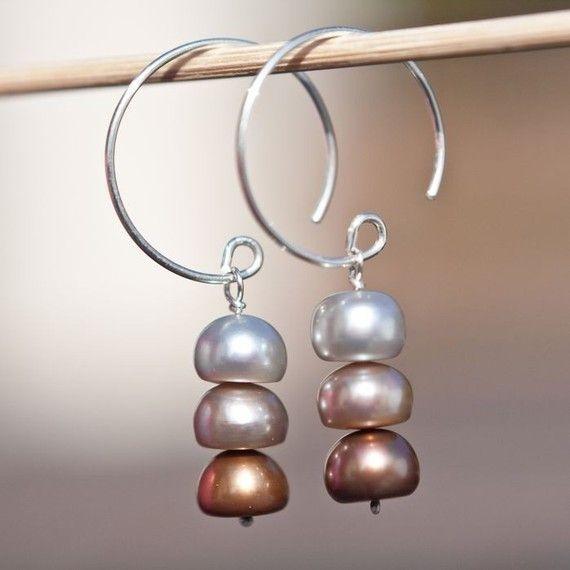 Hoop Dangle Earrings Sterling Silver Pearls multicolor 3 Chocolate ru�� by wanting