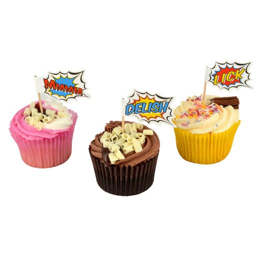 Cupcake Topper – Pop Art Superhero