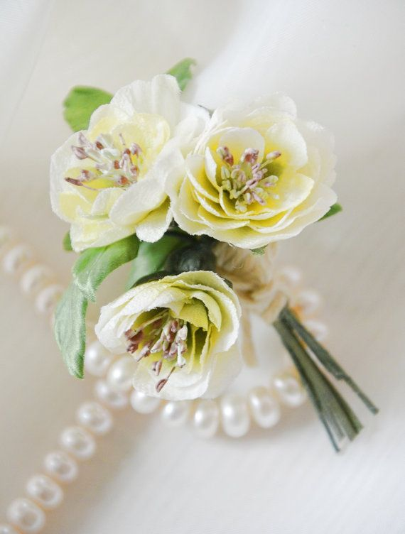Brooch silk rose silk flowers bridal accessory white by Roseisle