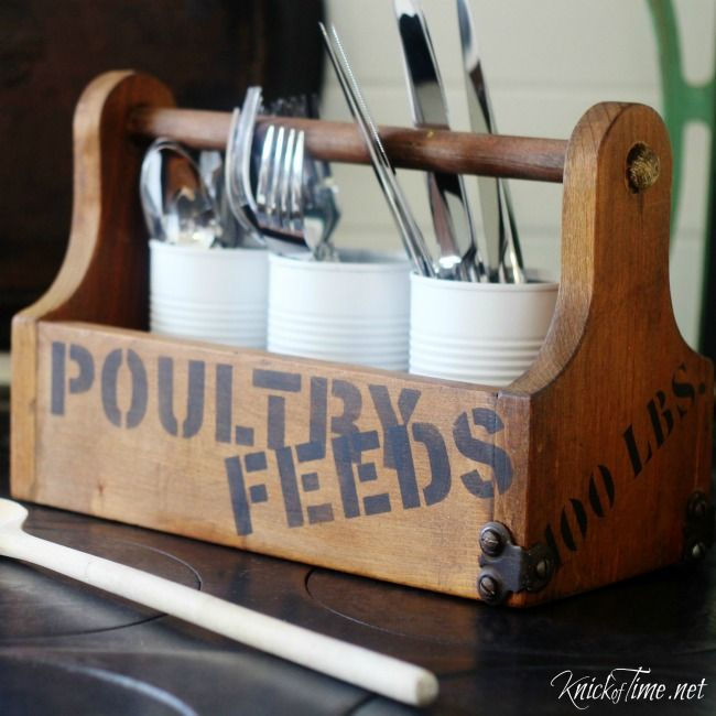 DIY farmhouse flatware carrier - KnickofTime.net~Going to paint them red, white, and blue for the holiday:)  So cute!!