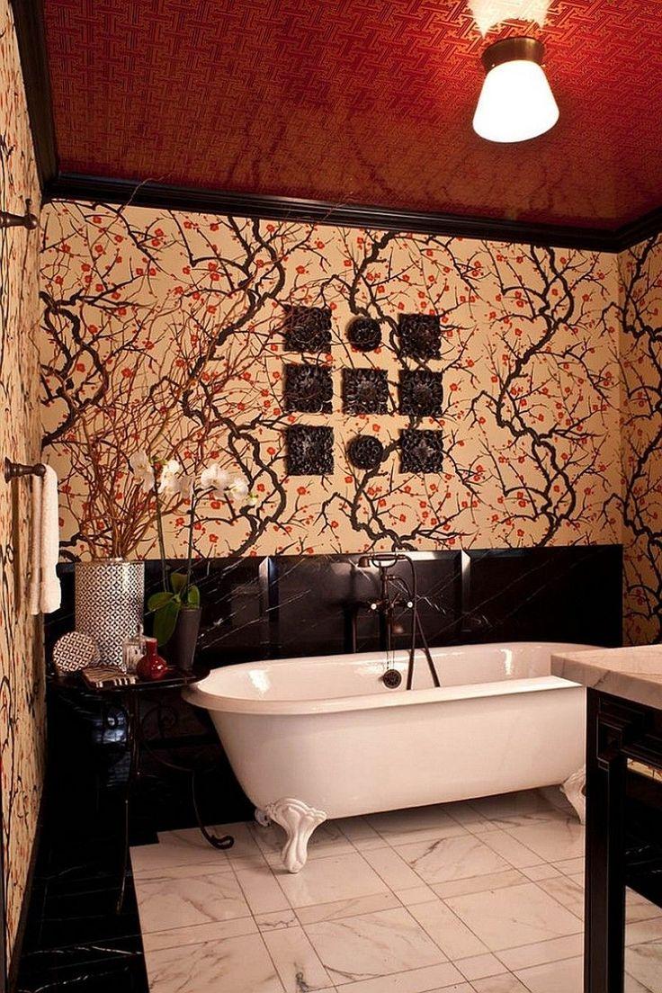 Натяжные потолки в ванной (45 фото): идеальный выбор http://happymodern.ru/natyazhnye-potolki-v-vannoj-45-foto-idealnyj-vybor/ Для ванной в восточном стиле выбрали красный натяжной потолок с золотым рисунком