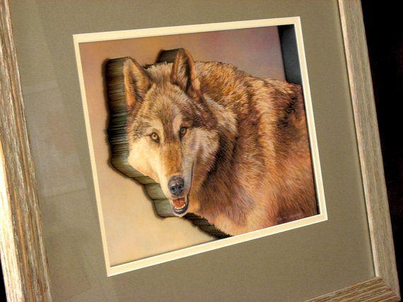 #Wolves in #Winter #Wildlife #Art #Wolf #Rustic #PictureFrame by #CiracoFramers #WolfArt #FramedArt #AnimalArt #art #NatureArt #WildlifeArt #3DArt #etsy #etsysellers #Canadian #Toronto