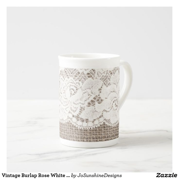 Vintage Burlap Rose White Lace Bone China Mug