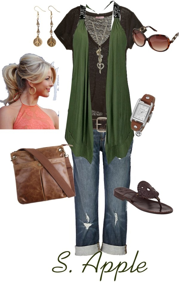"""Green Vest"" by sapple324 on Polyvore: Sapple324, Casual Style, Green Vest, Fashion Style, Polyvore, Fashion Marcy Style, Clothes Outfit S, My Style"
