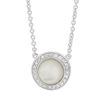 Silver and Some - Georgini Necklace, Mother of Pearl and CZ Pendant $159.00