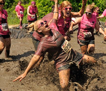 Dirty Girl Mud Run   Like a spa day with your gals but with a better calorie burn. The 5K female-only, beginner-friendly course has 12 to 15 obstacles that target all skill levels.