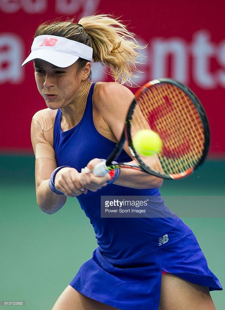 Nicole Gibbs of USA in action against Katerina Siniakova of Czech Republic during their Singles Round 1 match of the Prudential Hong Kong Open at Victoria Park Tennis Stadium on October 10, 2016 in Hong Kong, Hong Kong.