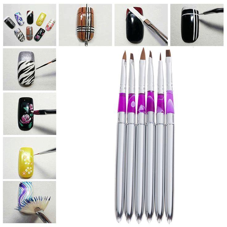 6 PCS UV Gel Acrylic Nail Art Brush Painting Pen Set Nail Design Manicure Tool nail tools